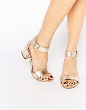 Carvela Shadow Leather Mid Heeled Sandals