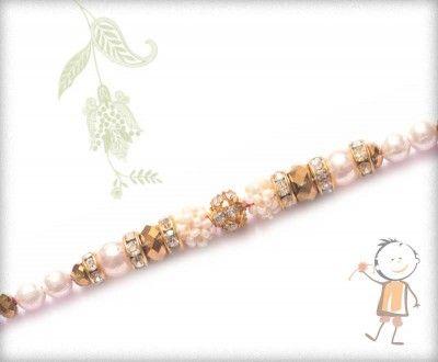 Diamond Pearl Bracelet Design Rakhi http://www.bablarakhi.com/