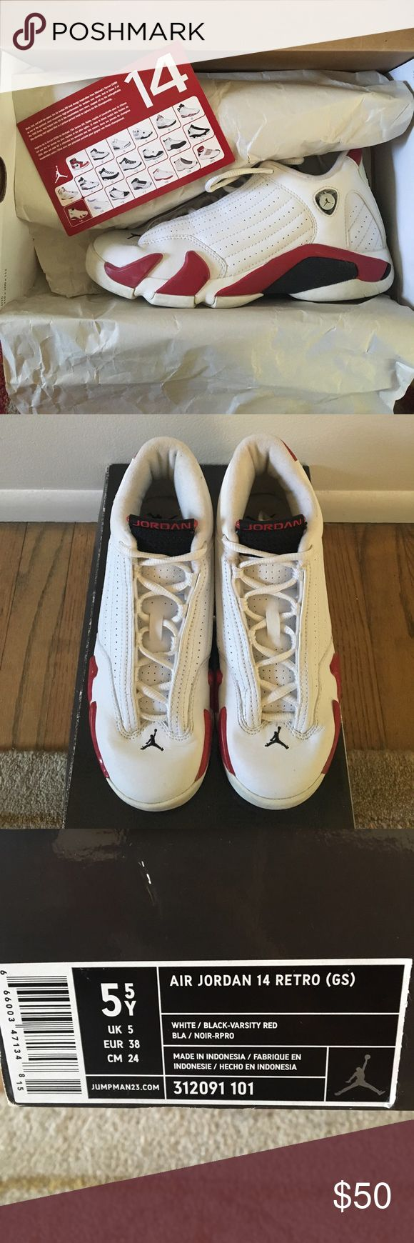 Air Jordan Retro 14s (USED) USED. Size 5Y / women 7 (USA). In good condition. Minor scuffs & creased. Laced have been bleached & washed Nike Shoes Sneakers