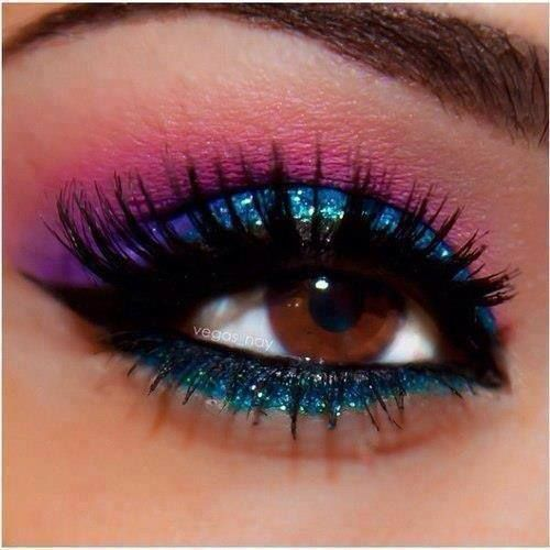 Cool glitter eyeshadow I really love this look if I was able to do this I would because it is just a really pretty look I think anybody could do this (This make-up is perfect for tomorrowland)