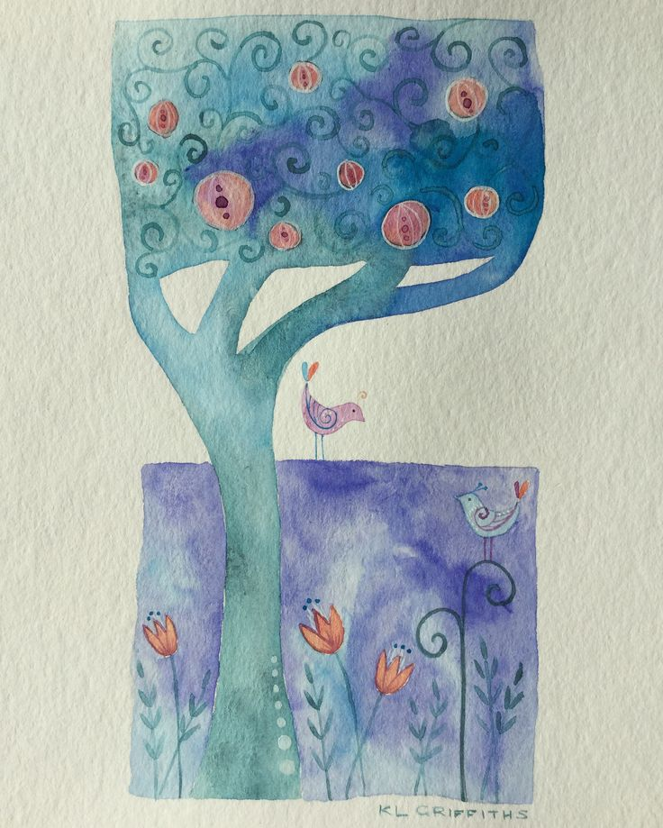 """Night garden"" watercolour by KL Griffiths"