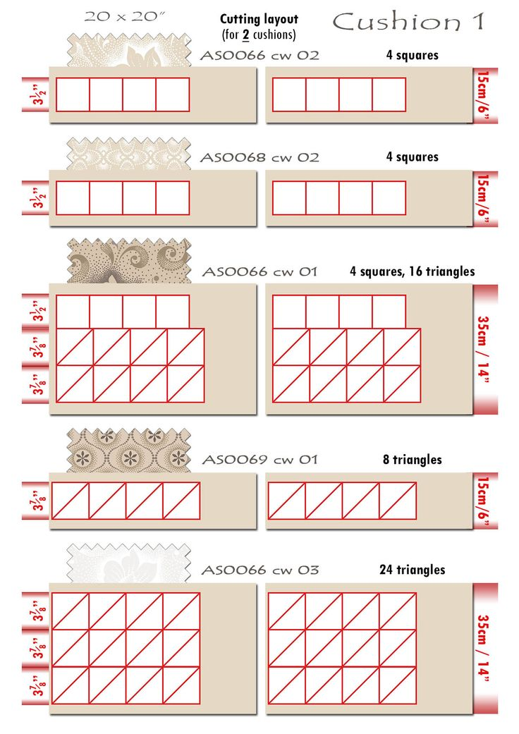 7 Iced Tea Collection Cushion cutting layout 1