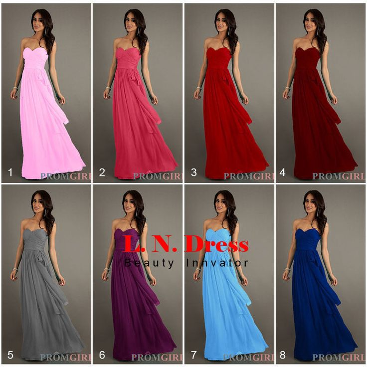 Sexy New Long Formal Evening Prom Dress Bridesmaid Dresses Ball Gown With Sash
