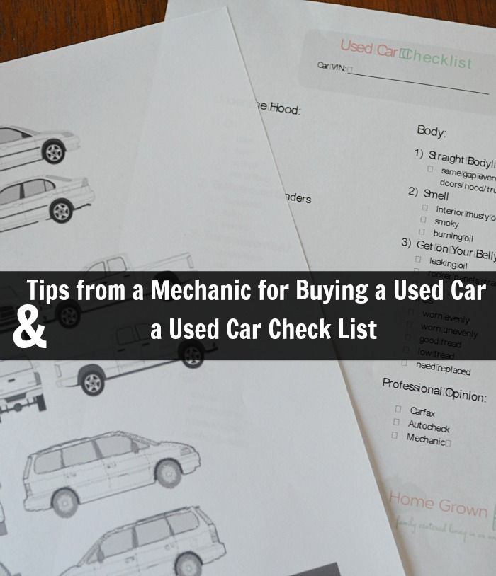 Tips For Buying a Used Car & a Used Car Check List