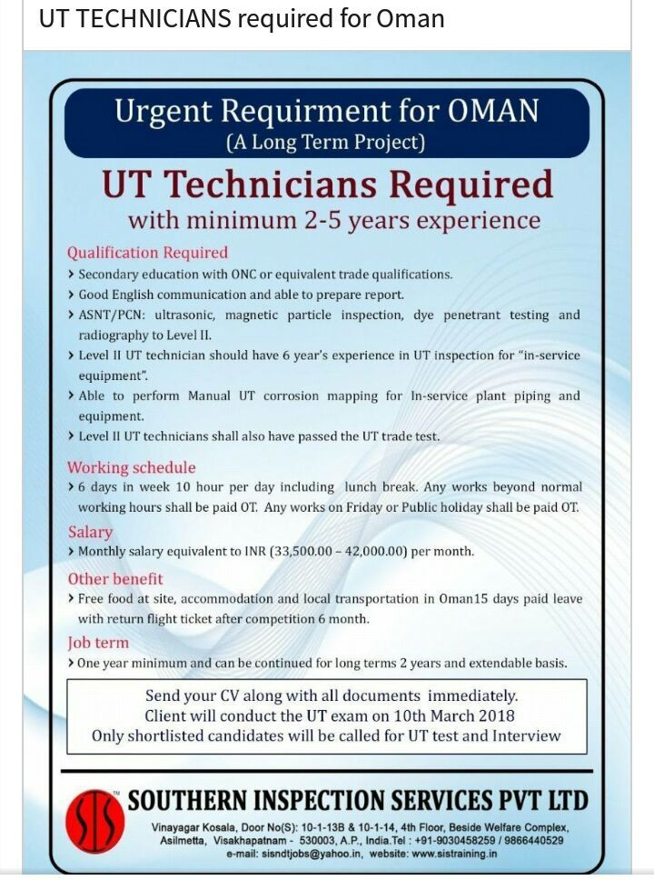Ndt Jobs In Saudi Arabia Ut Technicians Required With Minimum 2 5 Years Exp Technician Secondary Education Radiography