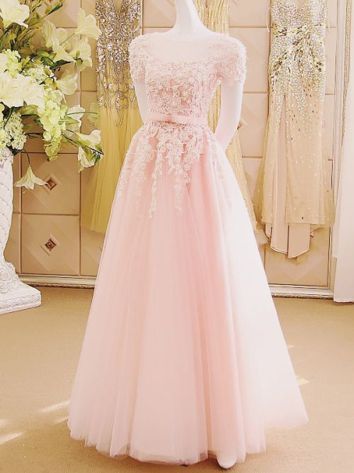 Elegant Tulle and Lace Applique Pink Prom Gowns, Pink Formal Dresses, Evening Gowns