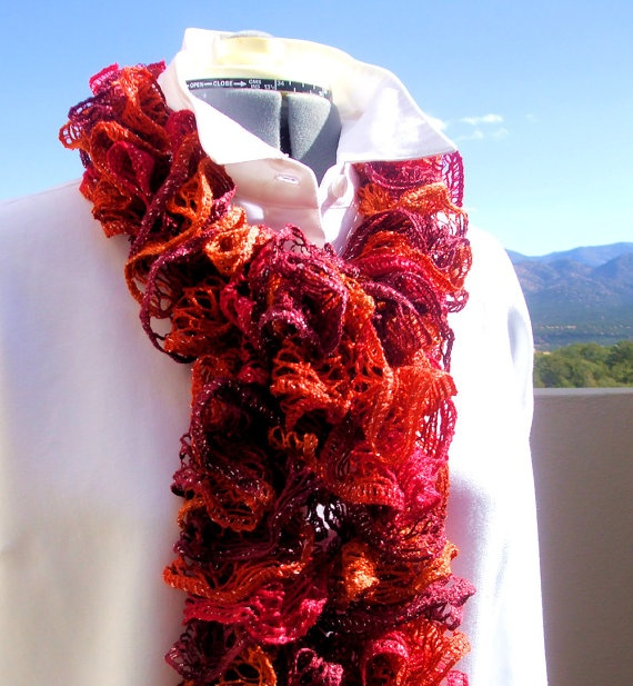 Girl On Fire Valentine Red Ruffled Scarf   Hand Knit