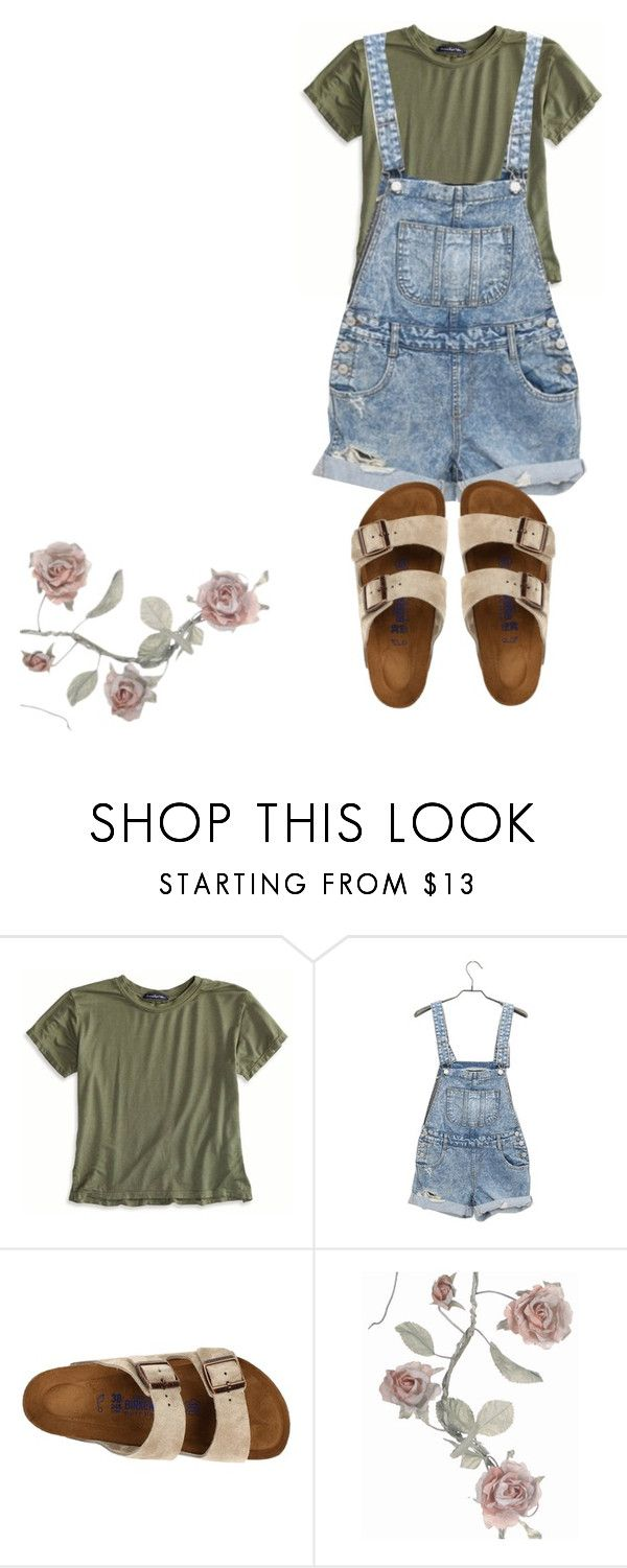 """""""overalls and birkenstock"""" by marisa-heine ❤ liked on Polyvore featuring American Eagle Outfitters and Birkenstock"""