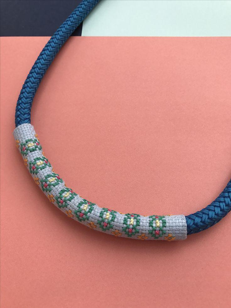 Cross-stitch necklace by Alchemy Loop #contemporaryjewellery