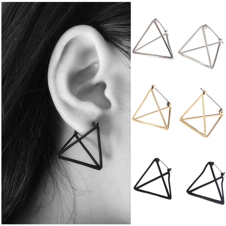 2016 Fashion Stile Punk Forma di Triangolo Geo Ragazze Donne Gancio Dell'orecchio Della Vite Prigioniera Ciondola Eardrop Lady Trendy Gioielli 1 Pair in                                                    1 Pair New Fashion Lady Silver Plated Crystal Rhinestone Ear Stud Earda Orecchini a cerchio su AliExpress.com | Gruppo Alibaba