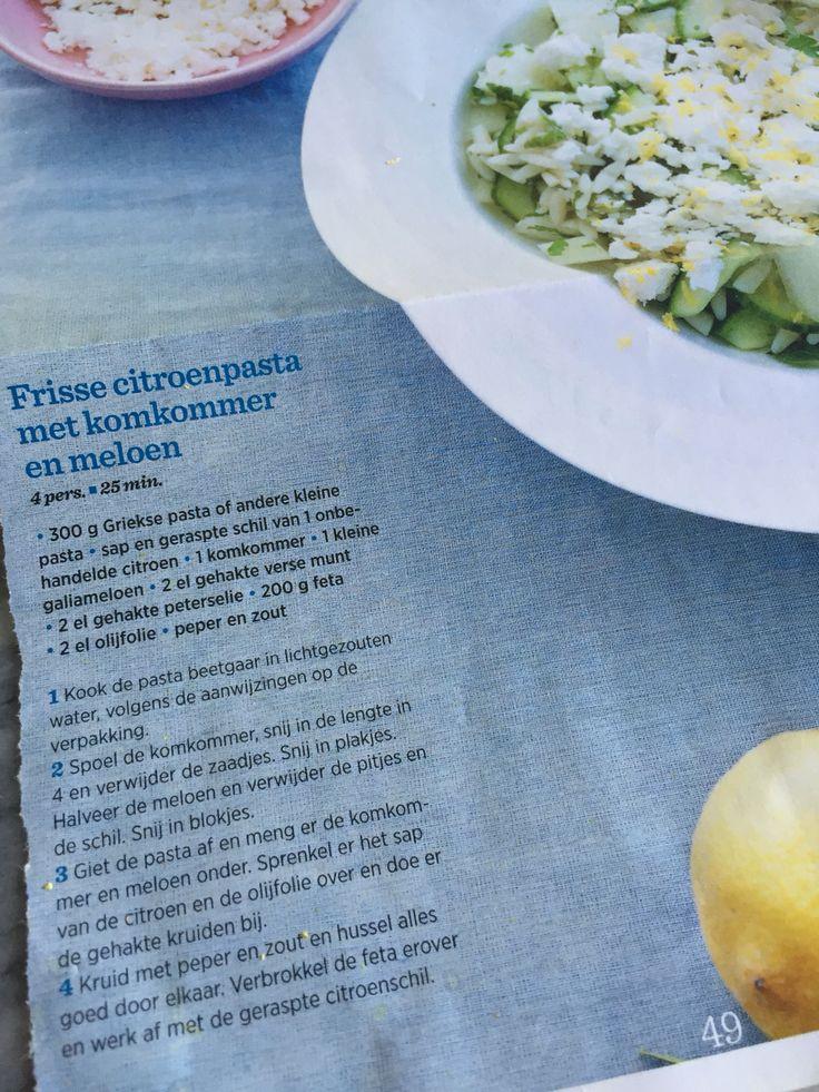 Frisse citroenpasta met komkommer en meloen