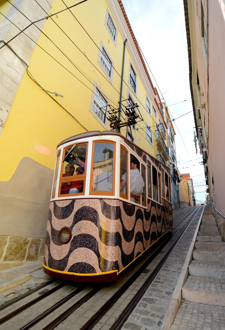Lisbon, one of the many funiculars in the city. Portugal