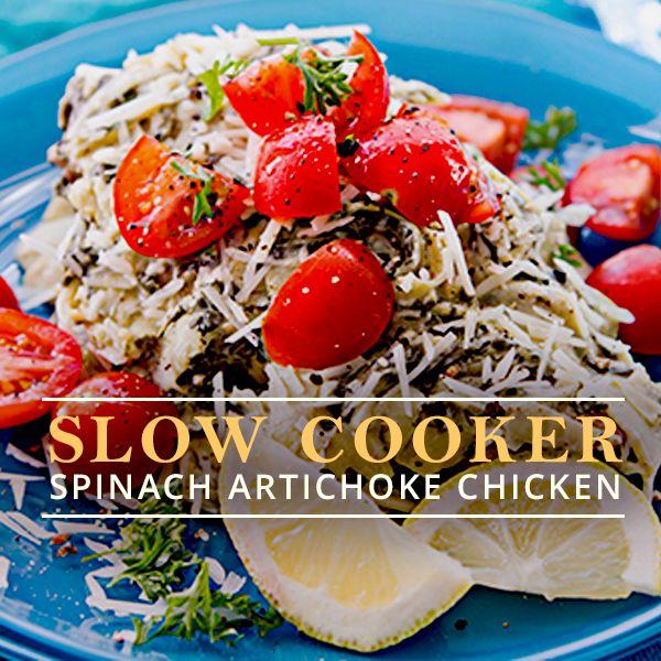 Slow Cooker Spinach Artichoke Chicken #slowcooker #spinachartichokechicken