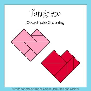 coordinate graphing ordered pairs tangram heart valentines day math class valentines. Black Bedroom Furniture Sets. Home Design Ideas