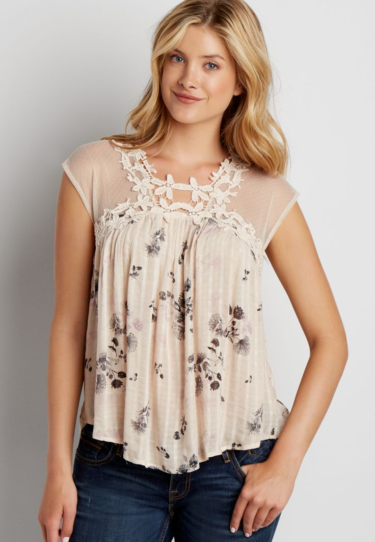 lightweight floral print top with mesh and crochet