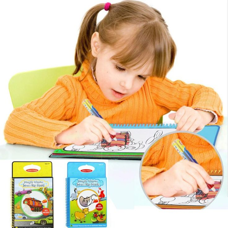 Children Kids Water Painting Book with 1 Magic Pen learnning tool Water Drawing Book Intimate Coloring Book Water Painting Board
