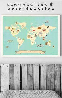 TIP! Landkaarten & wereldkaarten #jongenskamer | gras onder je voeten via kinderkamerstylist