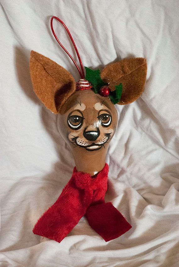 Chihuahua painted light bulb Christmas tree by DrinkWildTurkey