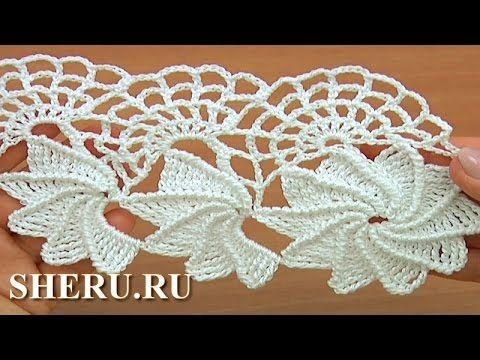 Crochet Spider Web Lace Tutorial 23 часть 1 из 2 Ленточное кружево с пау...
