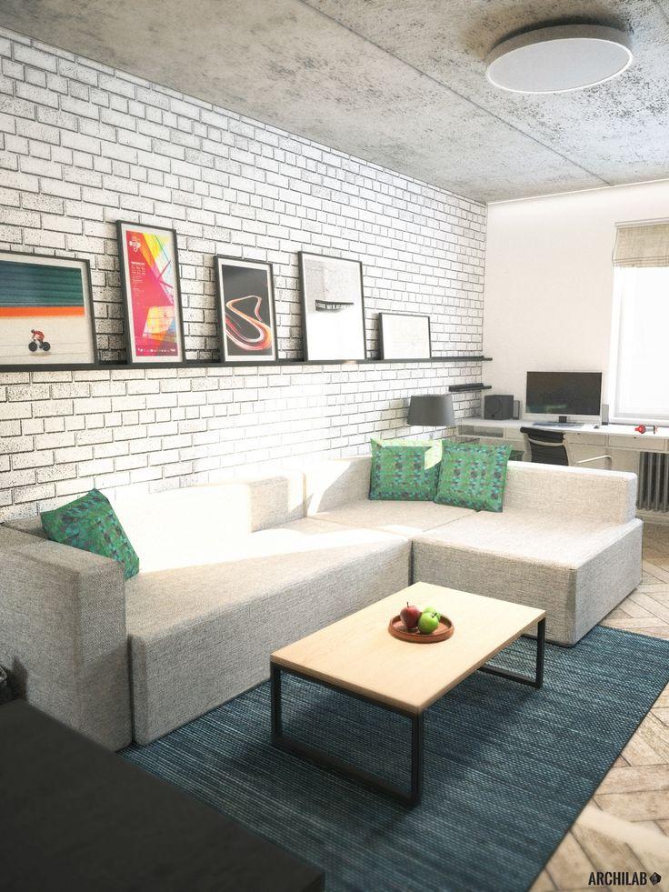 Návrh obývacej izby - Interiér 2-izbového bytu, rekonštrukcia, Tokajícka ul., Bratislava - Interiérový dizajn / Living room interior by Archilab