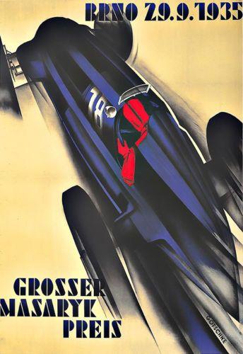 Art-Ad-Grosser-Masaryk-Preis-1935-Auto-Car-Race-Deco-Poster-Print