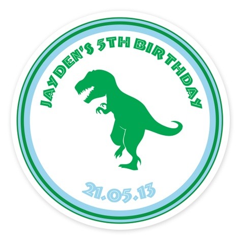 Dinosaur Personalised Party Stickers (Set of 35)