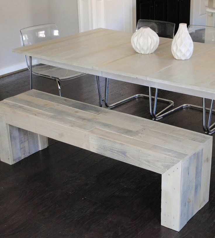 Reclaimed Wood Bench by Raka Mod on Scoutmob Shoppe. Love the bleached wood of this bench, which is made from oak and pine shopping pallets.