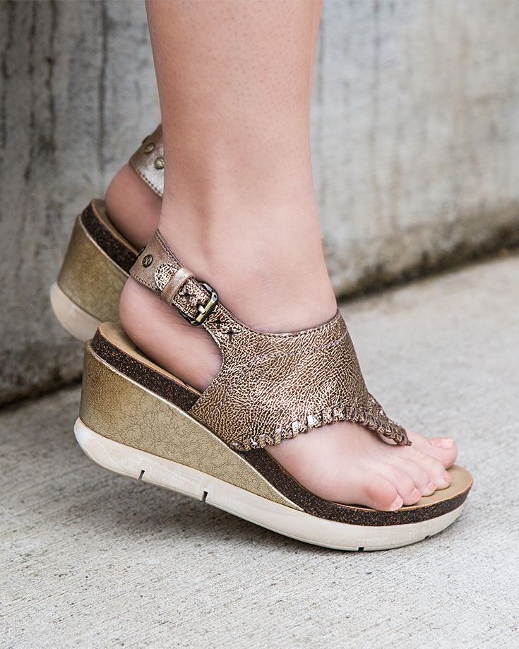 84b629c1cf4 Out on the town  Show off your style with these fashionable Meditate gold  wedges from OTBT.  fashion  style  girls  shoes  sandals  summer  women