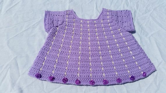 Baby girl's tunic purple lilac cream ribbons silk