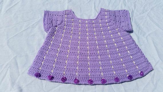 Baby girl's tunic purple lilac cream ribbons silk