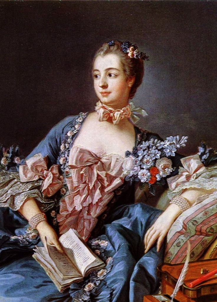 Portrait of Madame de Pompadour (1756), detail. François Boucher. Oil on canvas. Boucher (French, 1703-1770) was known for his Rococo-style idyllic and voluptuous paintings on classical themes.  Bows and flowers everywhere!
