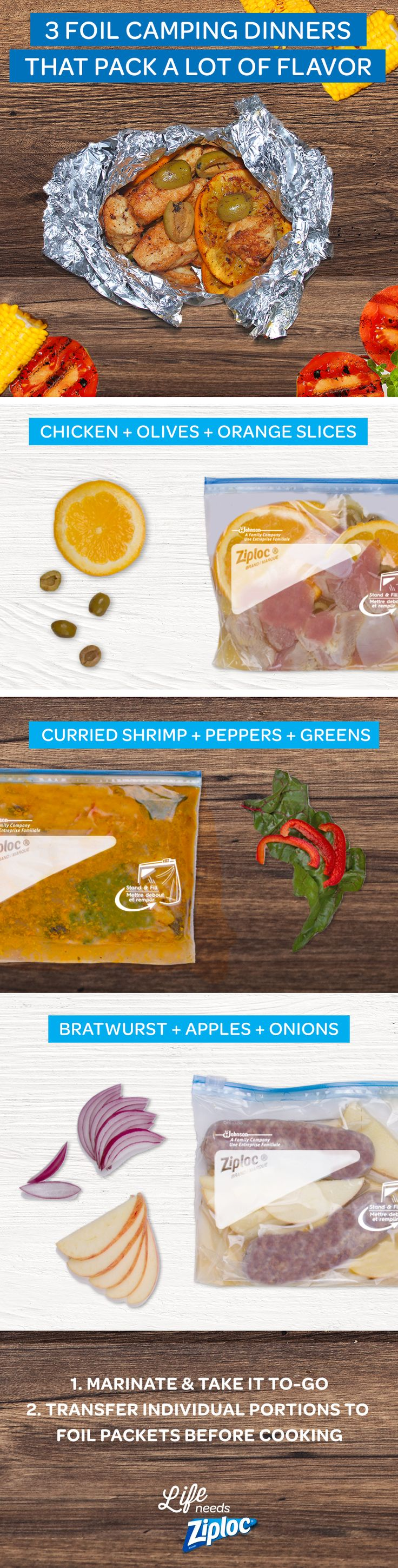These easy foil packet meals are perfect for camping or cooking at home in the oven. Combine chicken, olives, orange slices and a splash of orange juice; shrimp, curry sauce, bell peppers and swiss chard or spinach; or bratwurst, apples, onions and a splash of apple cider vinegar. Make enough for dinner for one or for a whole family. Take these simple marinades to your campsite, picnic or cookout in a Ziploc® bag. These recipes are easy to customize or get your kids to help!
