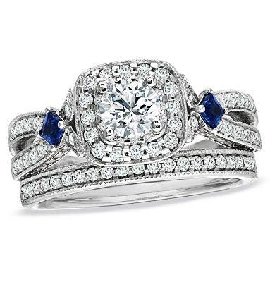 I love this ring!!! Vera Wang #engagement #ring and #wedding #band