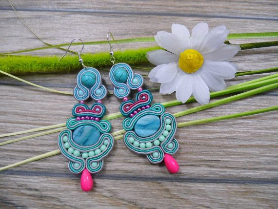 earrings / soutache technique / handmade 10cm by Kokonek on Etsy
