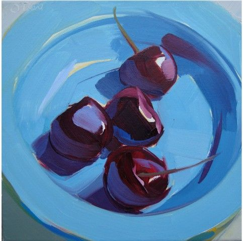 cherries, red, blue, still life, bold, vibrant, colorful, summer, reflections Karen O'Neil