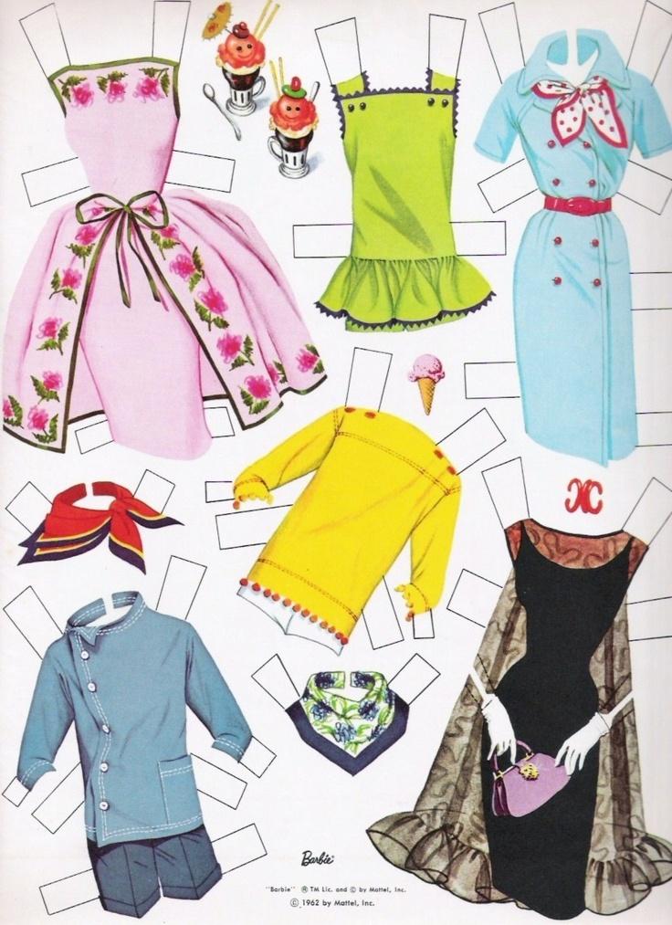 Barbie paper dolls | FABULOUS VINTAGE UNCUT 1962 BARBIE PAPER DOLLS~#1 REPRO~VERY RARE SET ...
