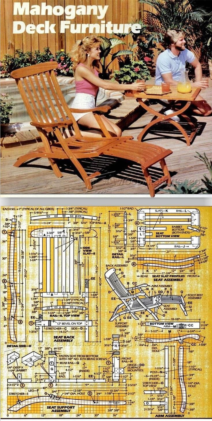 390 best woodworking plans furniture images on pinterest titanic deck chair plans outdoor furniture plans projects httpwoodarchivist baanklon Gallery
