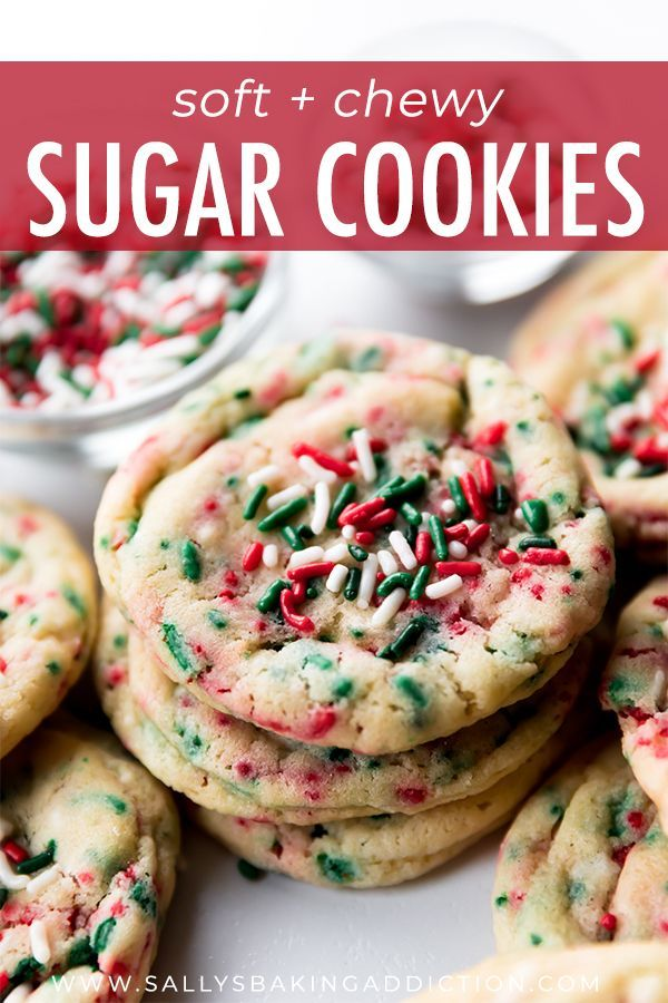These soft, chewy, and sprinkle loaded drop style Christmas sugar