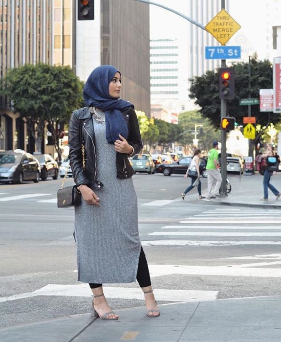 Leather Jacket and dress combo. Trendy. #muslimah #hijab