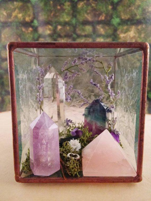 Terrarium - Healing Crystals - Terrarium Kit - Glass Terrarium - Crystal Garden - Gypsy - Metaphysical - Raw Crystals and Stones