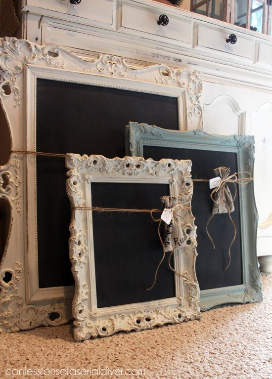 These fancy frames turned chalkboards are a great project to use up leftover chalk paint!
