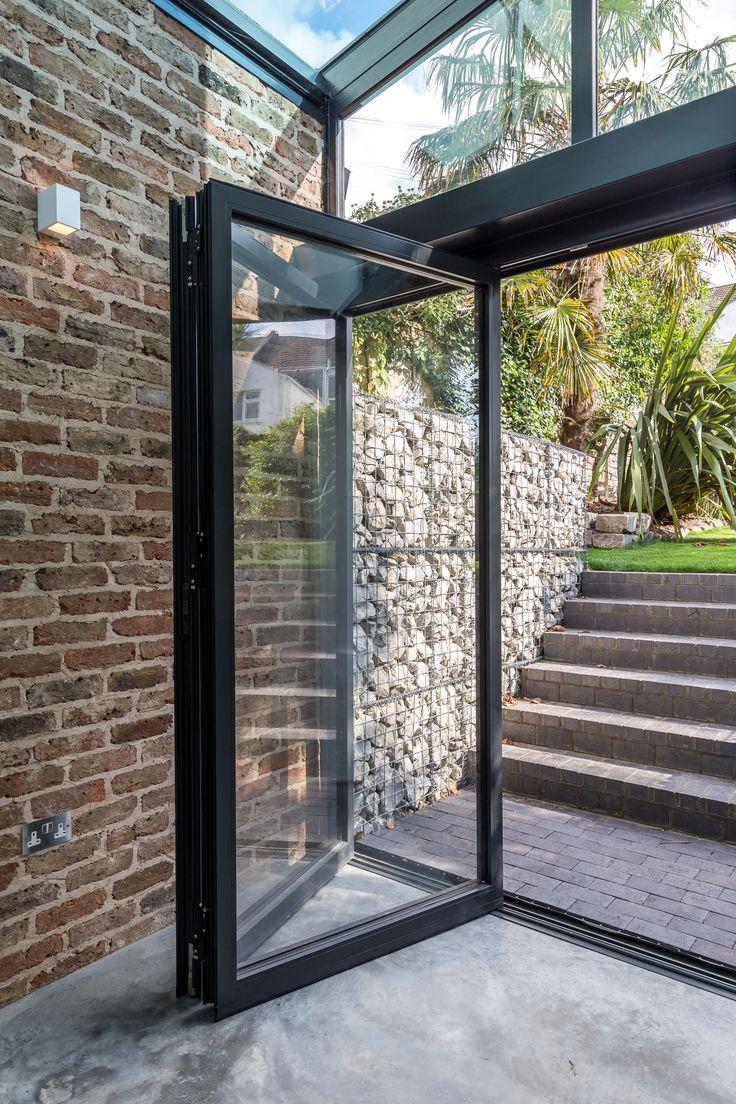 Folding Glass Doors External Black Aluminium Frame