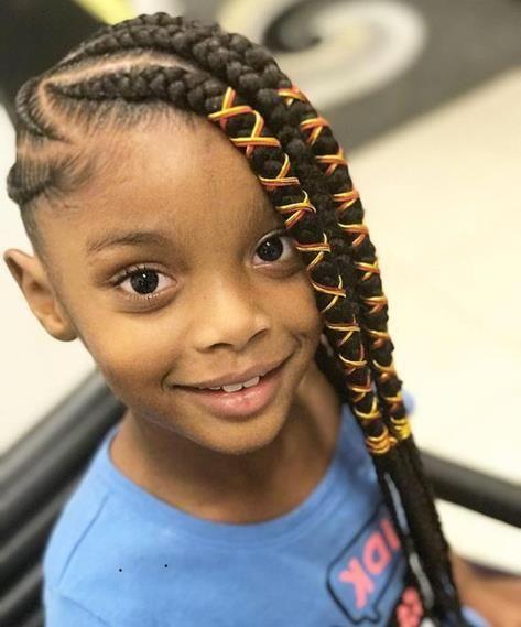 Little Black Girl Braiding Hairstyle Cute Braided