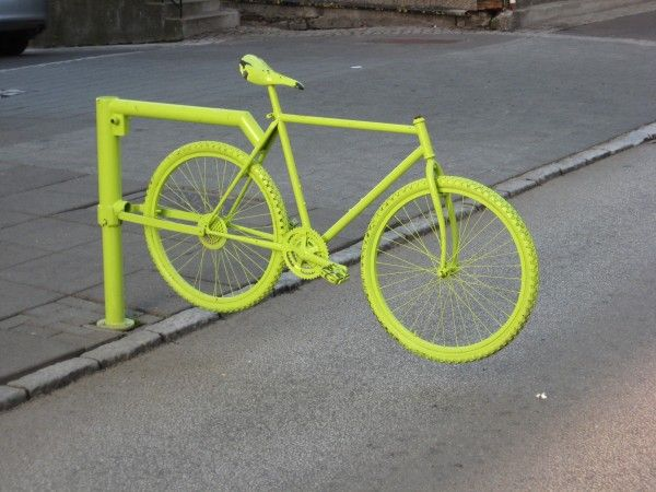 recycled bike used as a street fence in Reykjavik, Iceland...