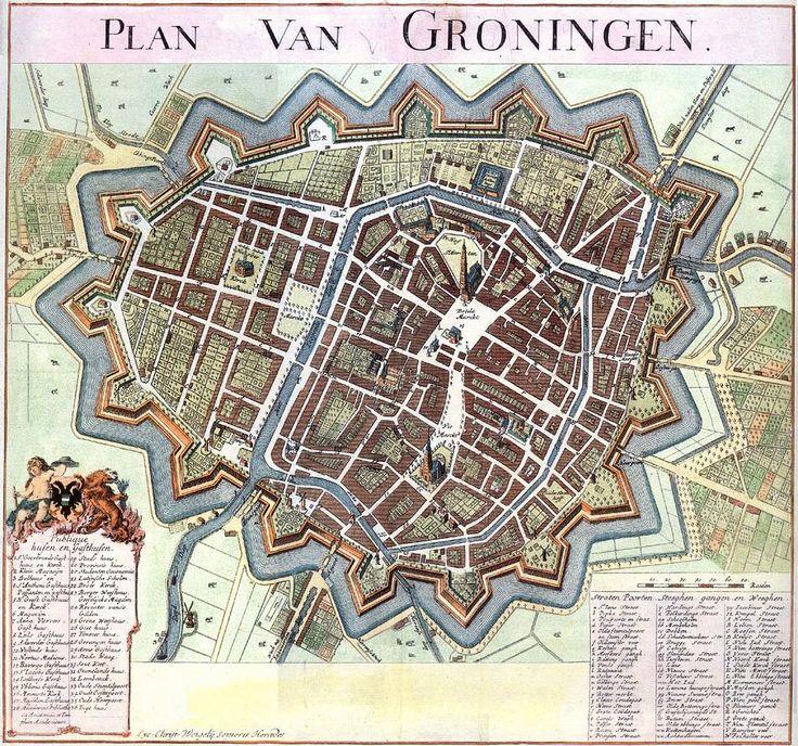 17th century Groningen Netherlands 100 best Stadsplattegronden