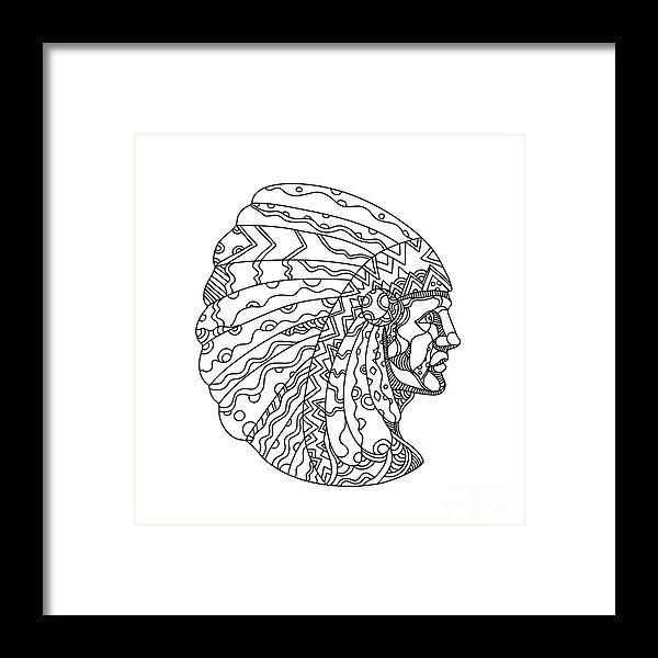 Doodle Framed Print featuring the digital art American Plains Indian With War Bonnet Doodle by Aloysius Patrimonio