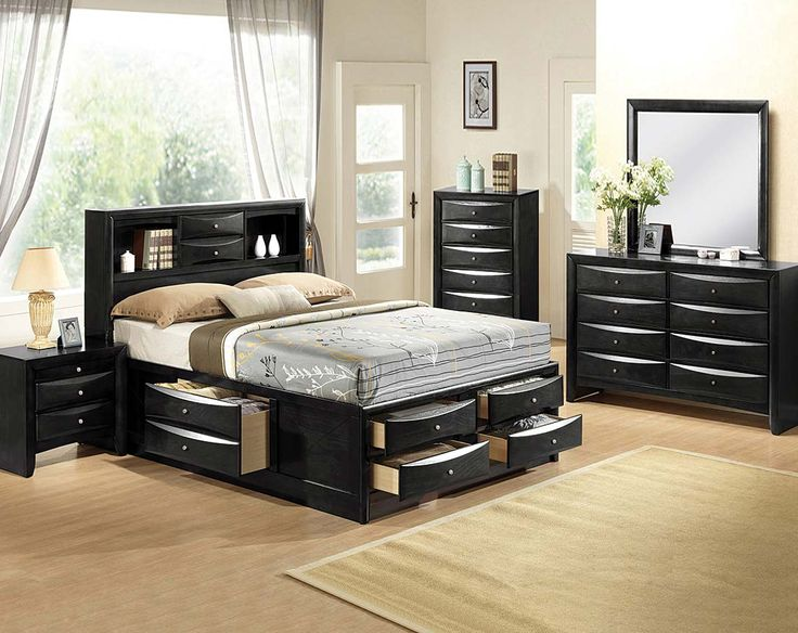 Black Bedroom Suite, Mirror, Dresser | Emily Storage Bedroom Set