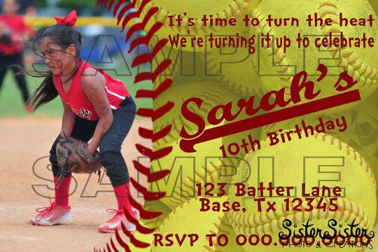 Softball Birthday Party Invitation by SisterSisterPandC on Etsy