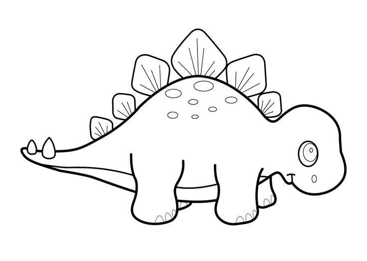 little dinosaur stegosaurus cartoon coloring pages for kids printable free - Dinosaur Coloring Pages Preschool
