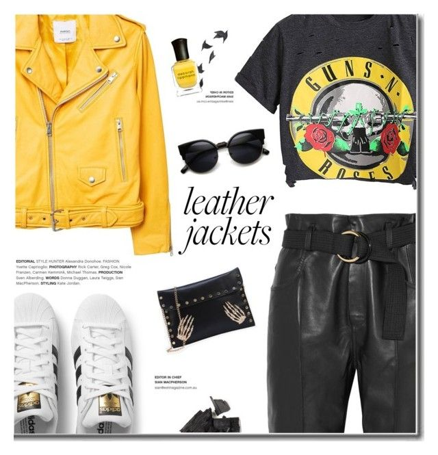 """""""Cool-Girl Style: Leather Jackets"""" by fashion-bea-16 ❤ liked on Polyvore featuring MANGO, Petar Petrov, adidas Originals, Jayson Home and Deborah Lippmann"""